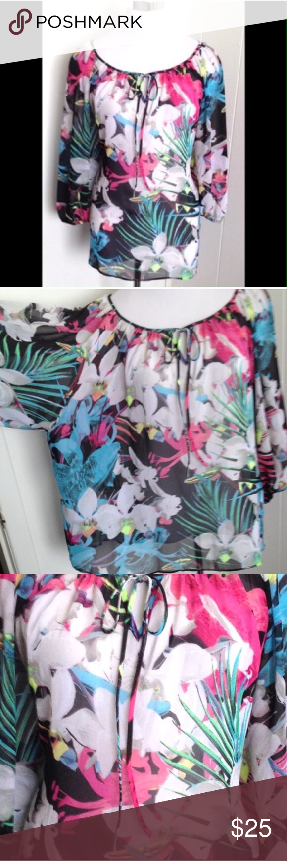 Gorgeous Floral Blouse 3X Like new. Flowy. Semi sheer. Tie front.  Super cute oversized and belted with leggings. I wore this that way st size 18Off the shoulder a.n.a Tops Blouses