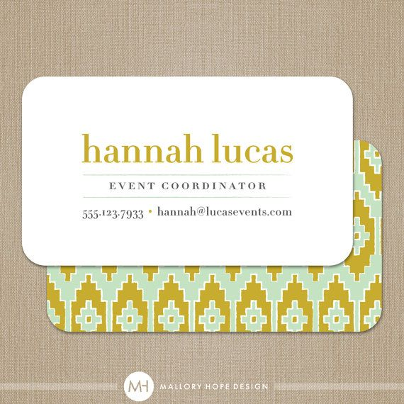 Ikat Business Card Calling Card Mommy Card Contact Card Event Planner Business Card