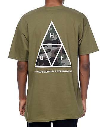 ad6b7ac2 HUF Muted Military Triple Triangle Dark Green T-Shirt | Retail ...