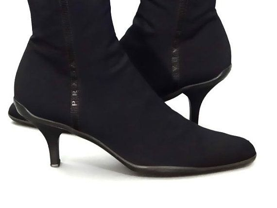 d4d7b3a95b616 Vintage Prada Ankle Boots Black Stretch Fabric Booties Pointed Toe and Kitten  Heel 1990's Women's Shoes