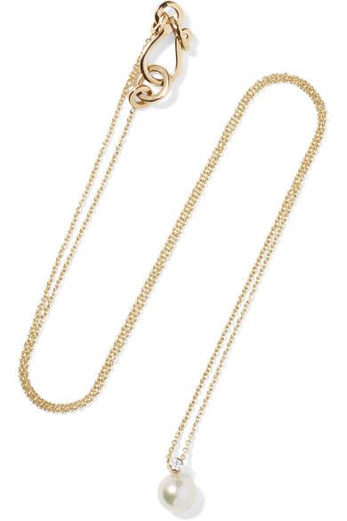 Petite Perle Simple 14-karat Gold, Diamond And Pearl Necklace - one size Sophie Bille Brahe