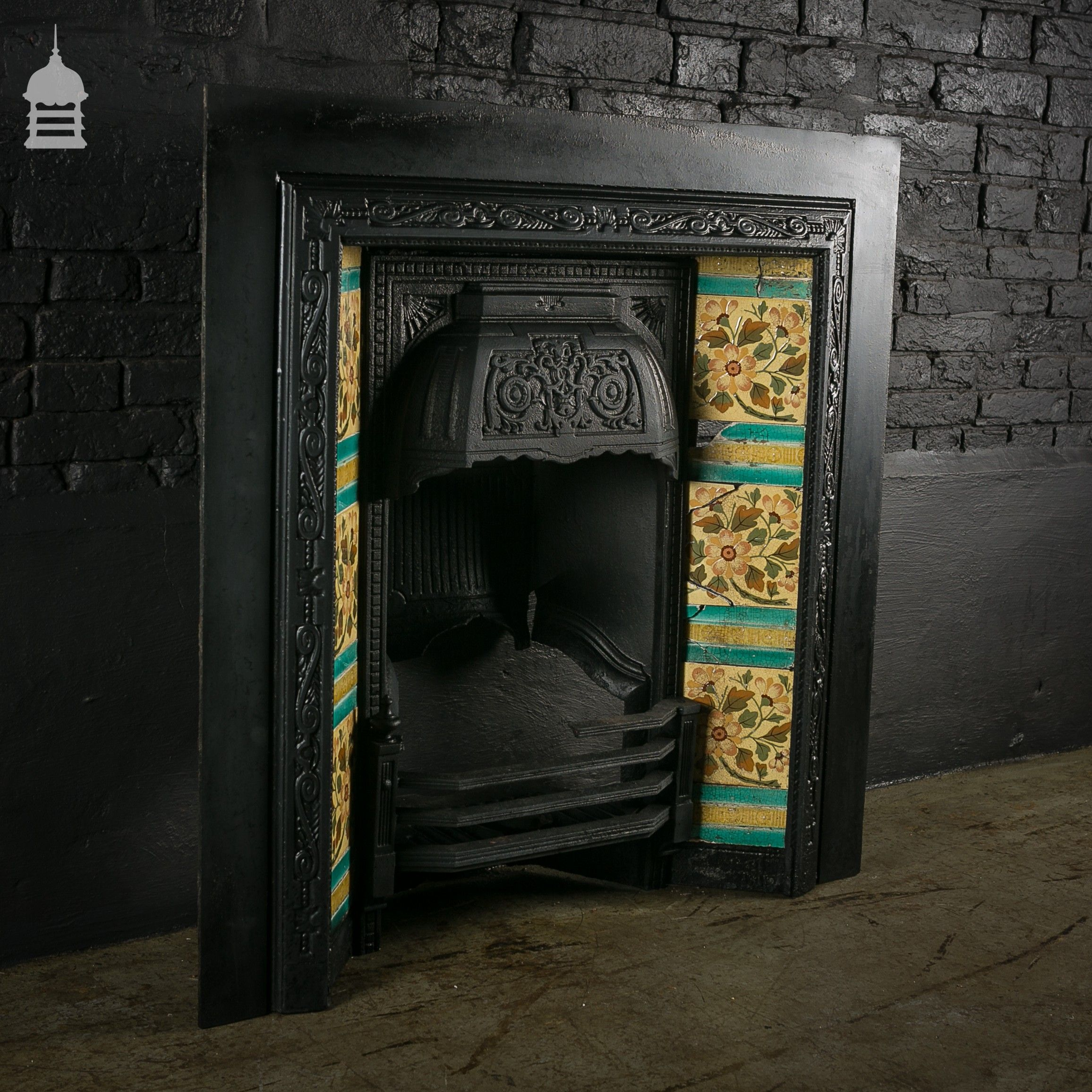 victorian tiled cast iron fireplace insert with original tiles