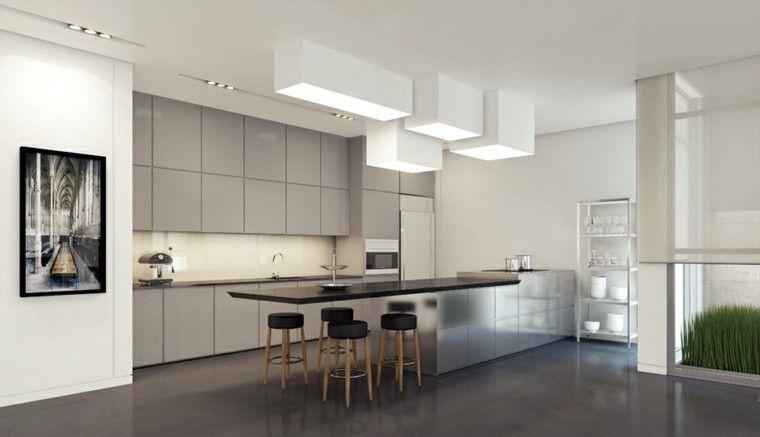 Decoración de interiores modernos en gris y blanco | Armario blanco ...