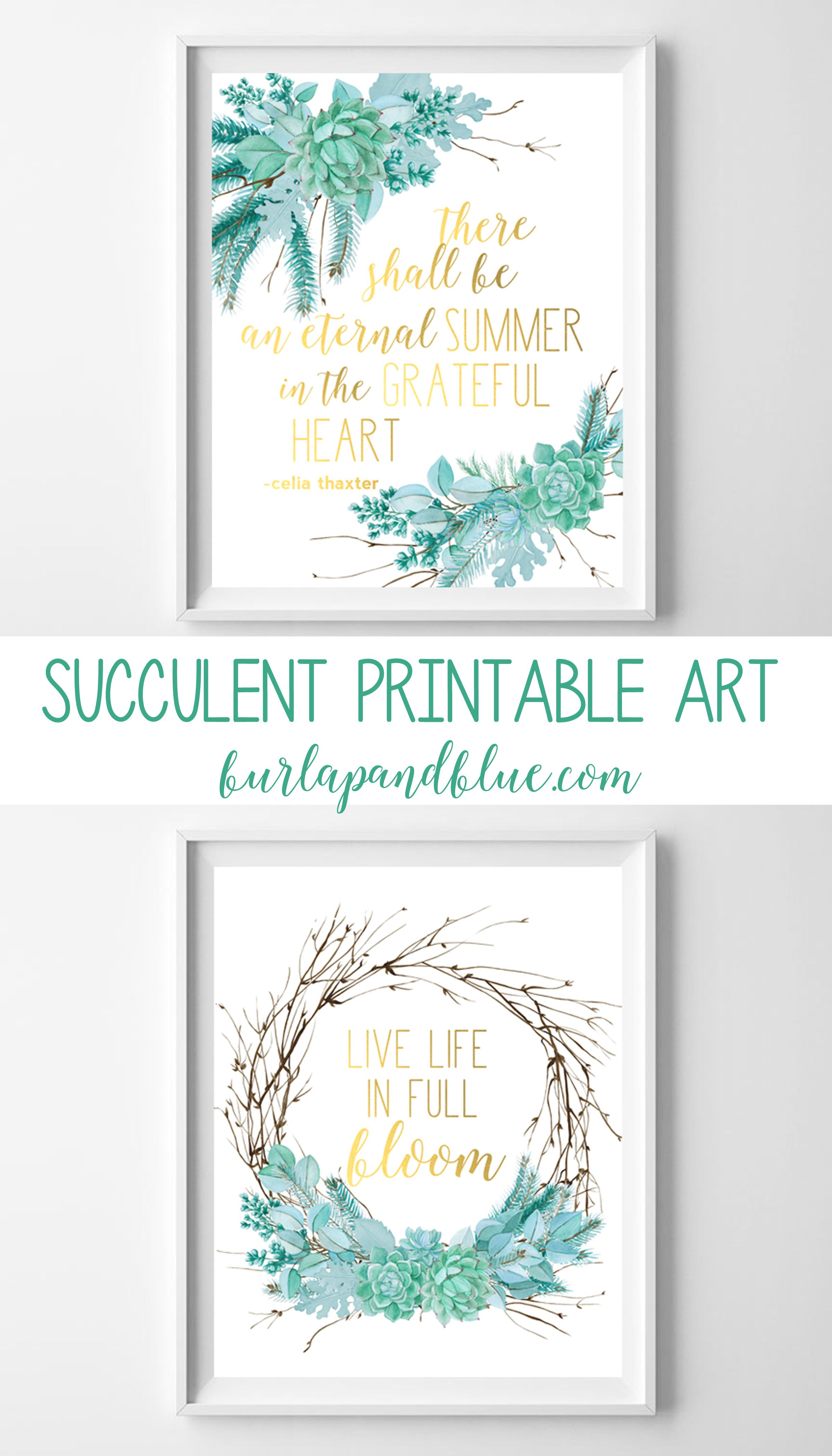 Free Twig And Succulent Printable Art Perfect For Your