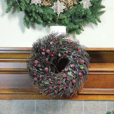 """Northlight Twig with Leaves and Berries Christmas Wreath Size: 13"""" H x 13"""" W x 8"""" D"""