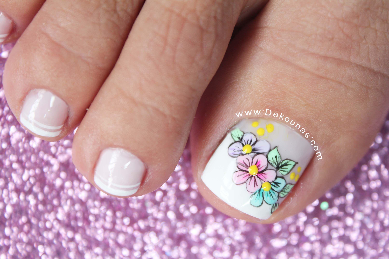 Diseño de uñas pies de flores | Diseños de uñas pies, Uñas ...
