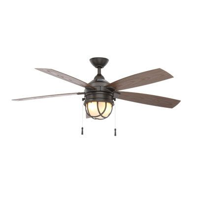 Hampton Bay Seaport 52 In Indoor Outdoor Natural Iron Ceiling Fan With Light Kit Al634 Ni Ceiling Fan With Light Ceiling Fan Light Kit Outdoor Ceiling Fans
