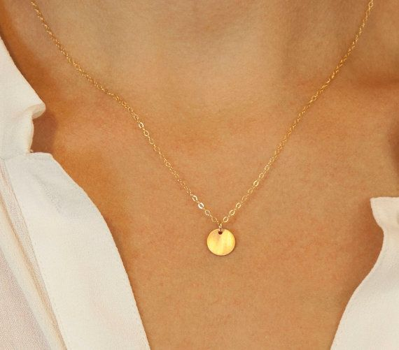 Custom Small Disk Necklace Gold Silver Or Rose Gold Etsy In 2021 Simple Necklace Simple Necklace Everyday Circle Necklace