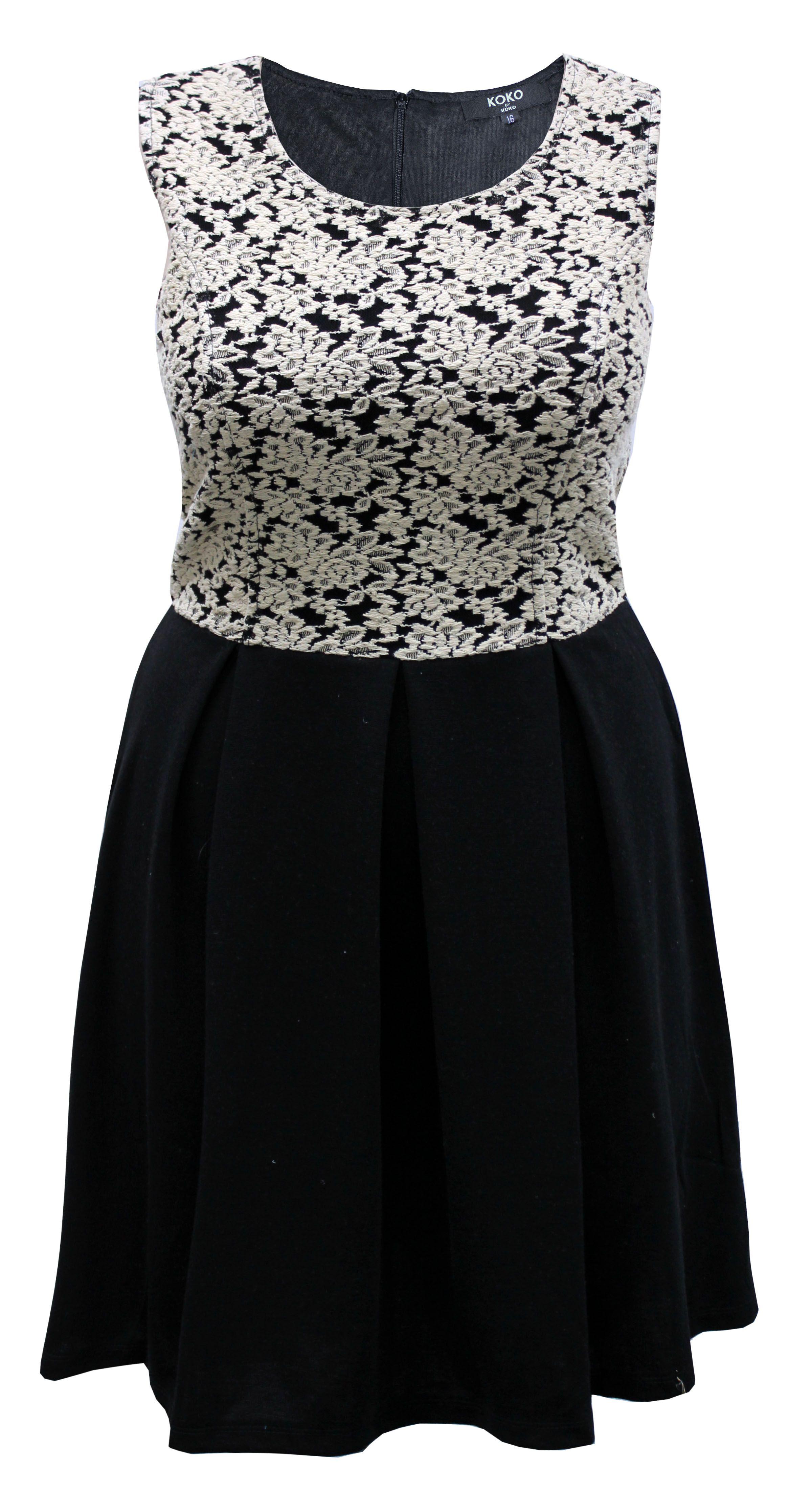 Koko Black Cream Contrast Lace Skater Dress Lace Skater Dress Trendy Plus Size Clothing Plus Size Outfits [ 4464 x 2400 Pixel ]