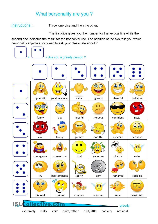 worksheet Esl Personality Worksheet personality dice game enkku pinterest gaming and worksheet free esl printable worksheets made by teachers