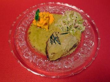 Iberico Schweinchen in Madeirasauce, Spitzkohlgemüse mit Speck, Karotten, und Süßkartoffel Rezept - Rezepte kochen - kochbar.de