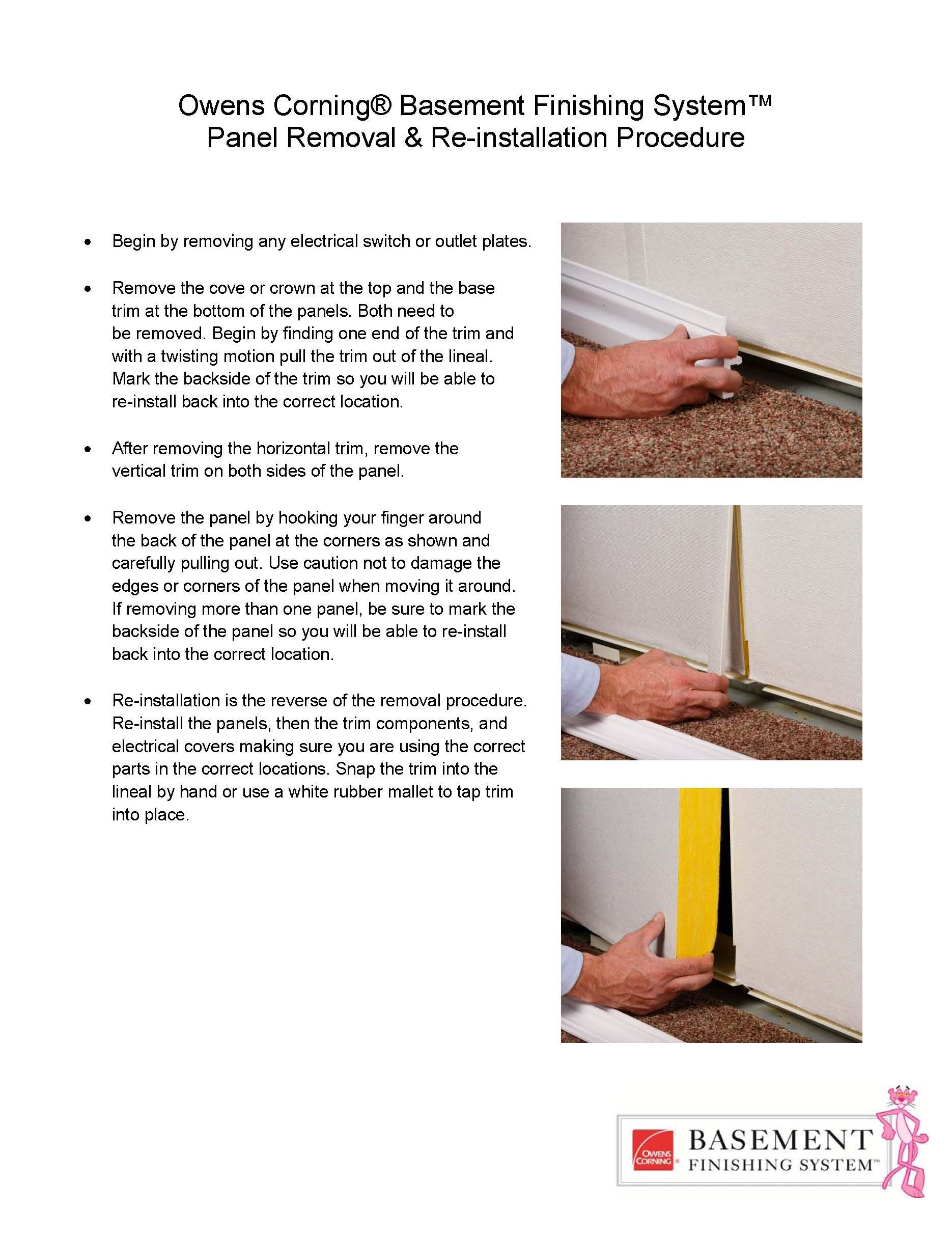 Owens Corning Bat Finishing System Wall Panel Removal Instructions