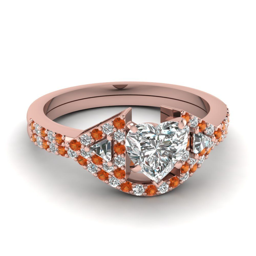 heart-shaped-diamond-wedding-ring-set-with-orange-sapphire-in-14K-rose-gold-