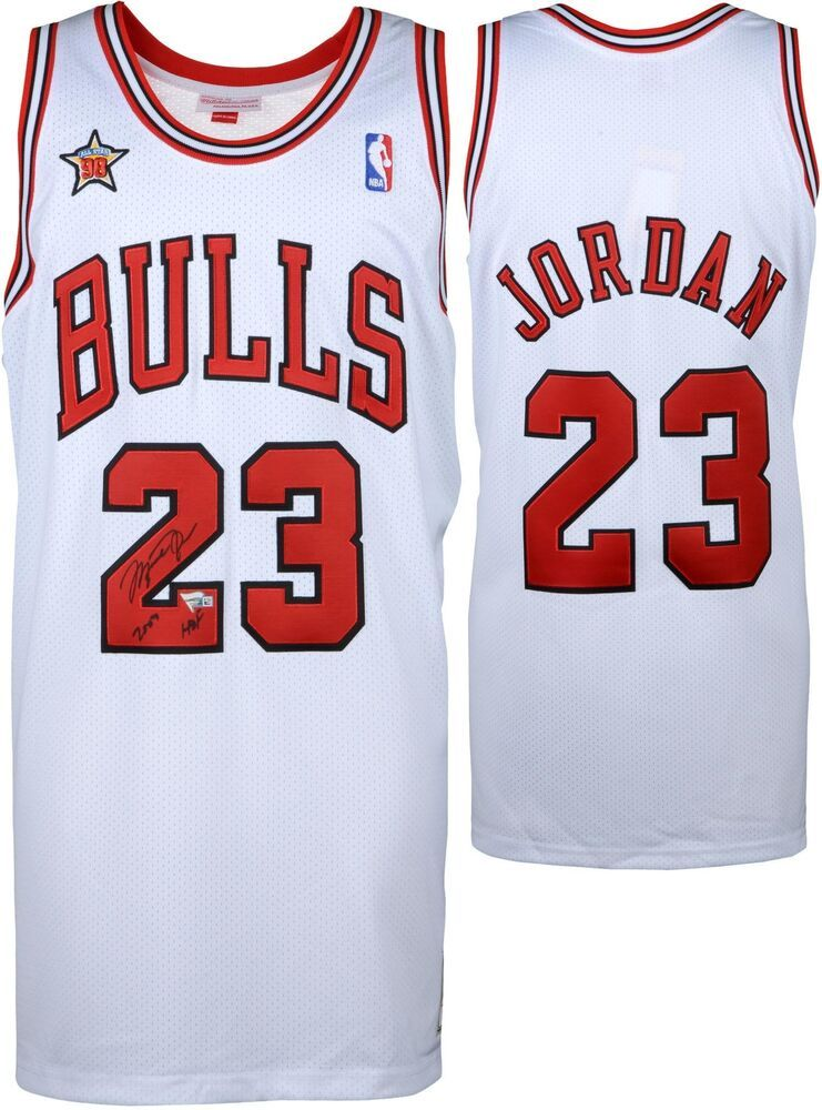 finest selection 878e7 cf3dc Michael Jordan Bulls Signed White Jersey with 1998 ASG Patch ...