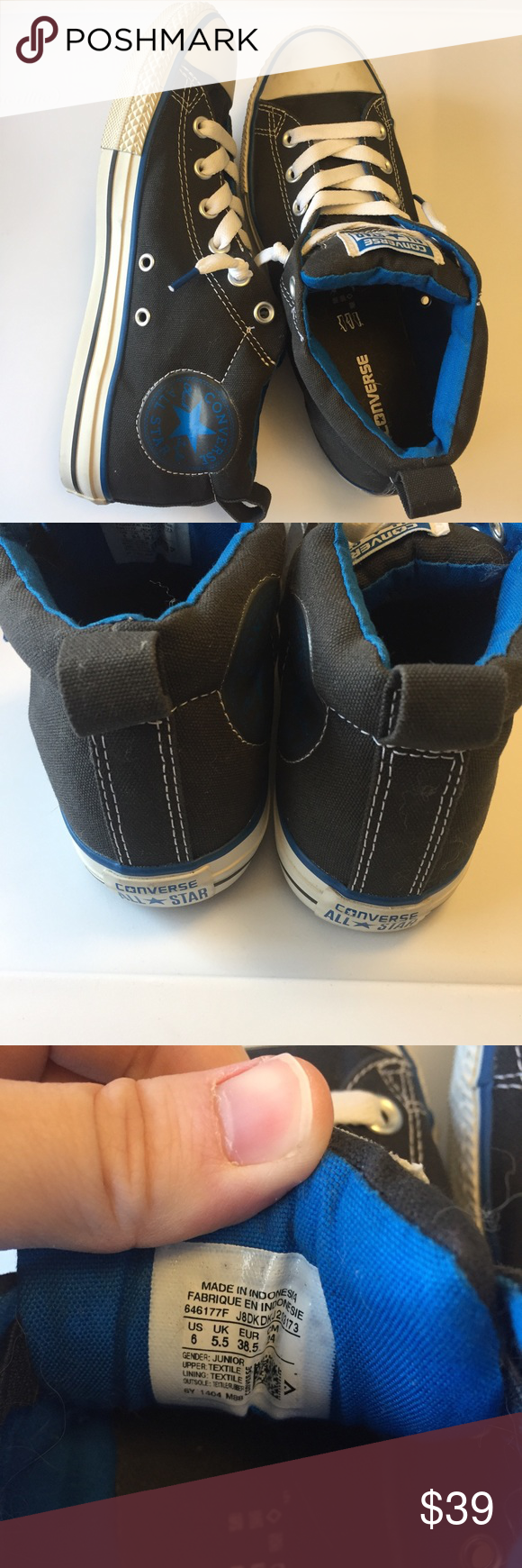 Converse   Canvas High Tops Youth Converse shoes. Slip on high top style. Padded along the top portion for support. Perfect condition besides small scuffs seen in last photo. Black with blue accents. Converse Shoes Sneakers