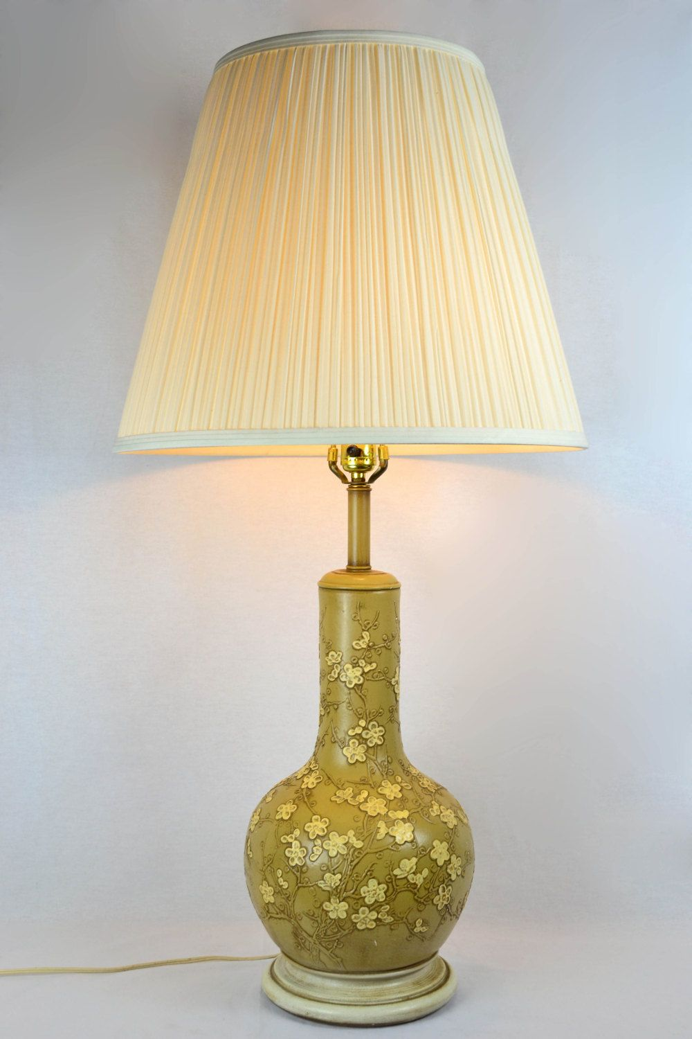 Large Vintage Ceramic Table Lamp With Yellow Flowers By Offcentermodern On Etsy