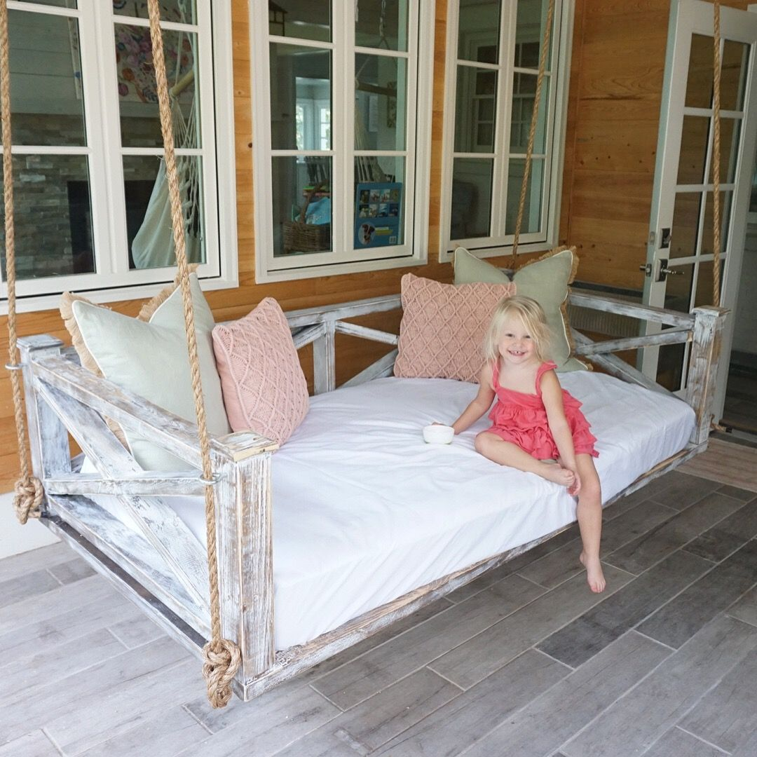 Whitewashed And Distressed Cross Style Swinging Bed Porch Swing Cottage Style Www Swellforever Com Porch Swing Bed Farmhouse Porch Swings Hanging Porch Bed