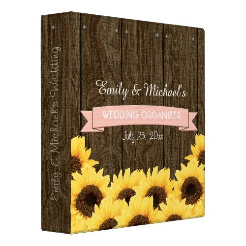 BLUSH PINK RUSTIC SUNFLOWER WEDDING ORGANIZER BINDER