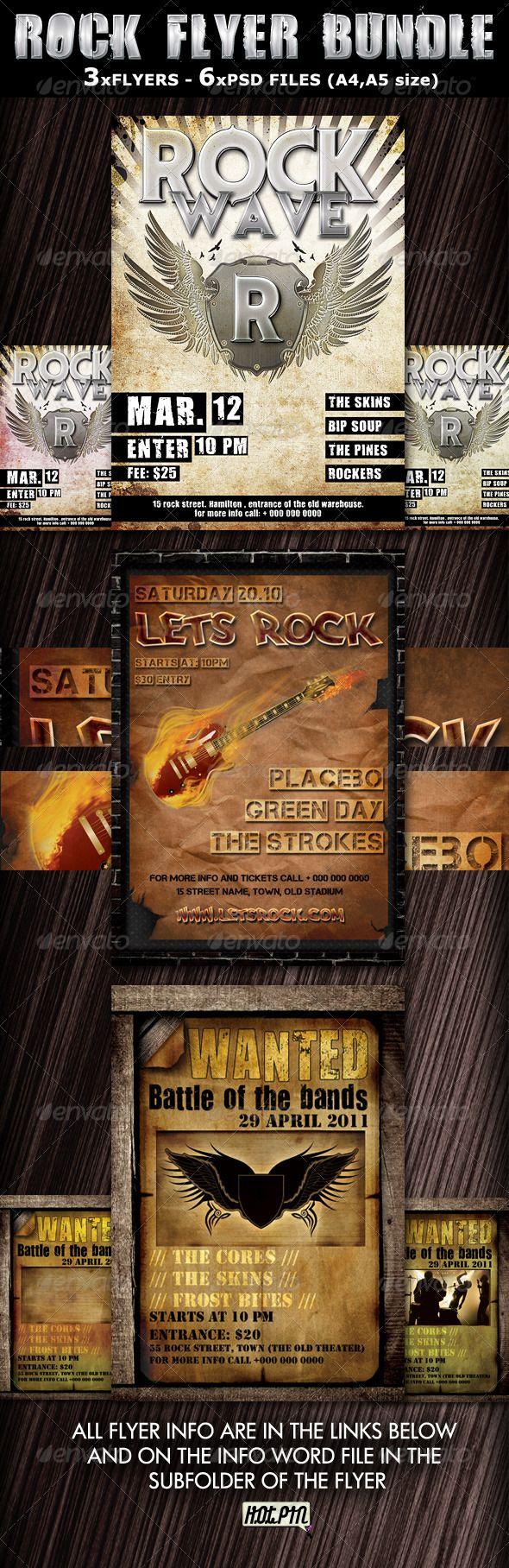 Rock Party-Concert Flyers Templates bundle | Pinterest