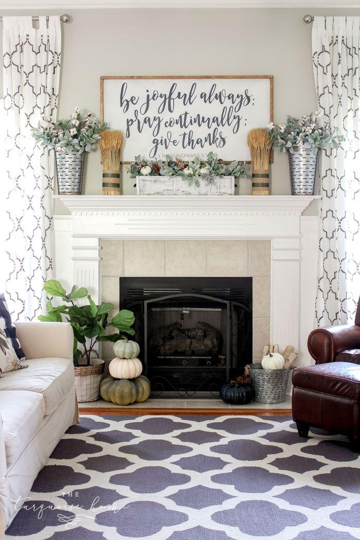Simple Fall Mantel With A Farmhouse Sign The Turquoise Home Farmhouse Style Living Room Decor Fireplace Mantel Decor Country House Decor