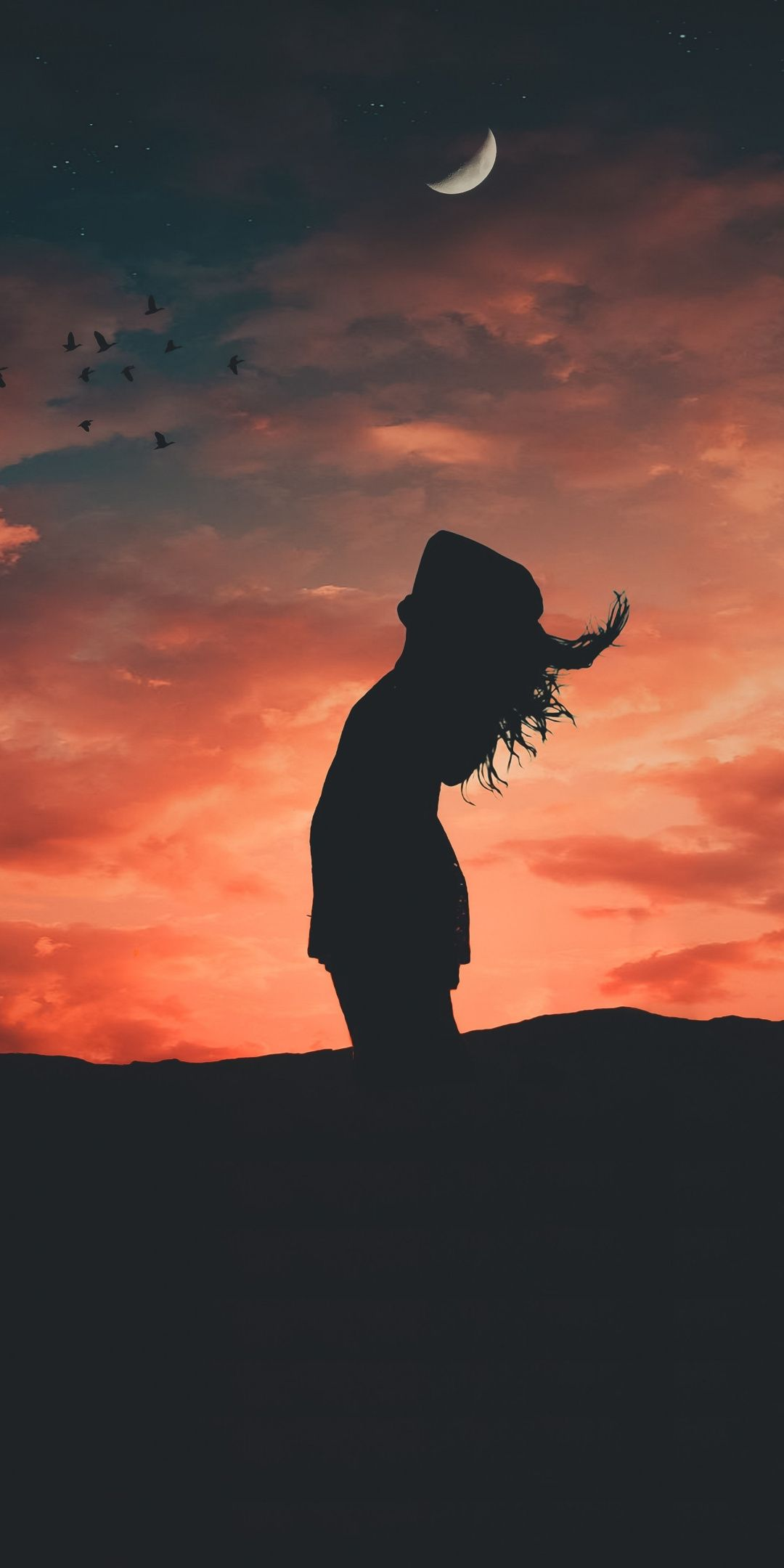 Sunset Girl Freedom Outdoor Relaxed Silhouette 1080x2160 Wallpaper Shadow Pictures Sunset Girl Alone Girl Pic