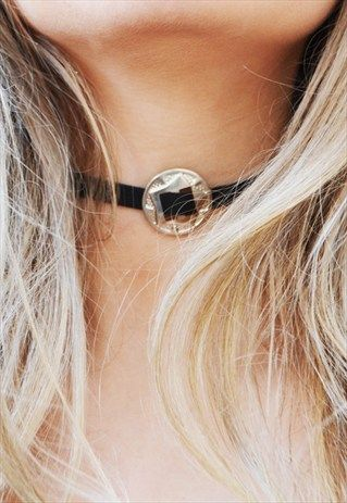 Faux+Leather+Concho+Buckle+Choker