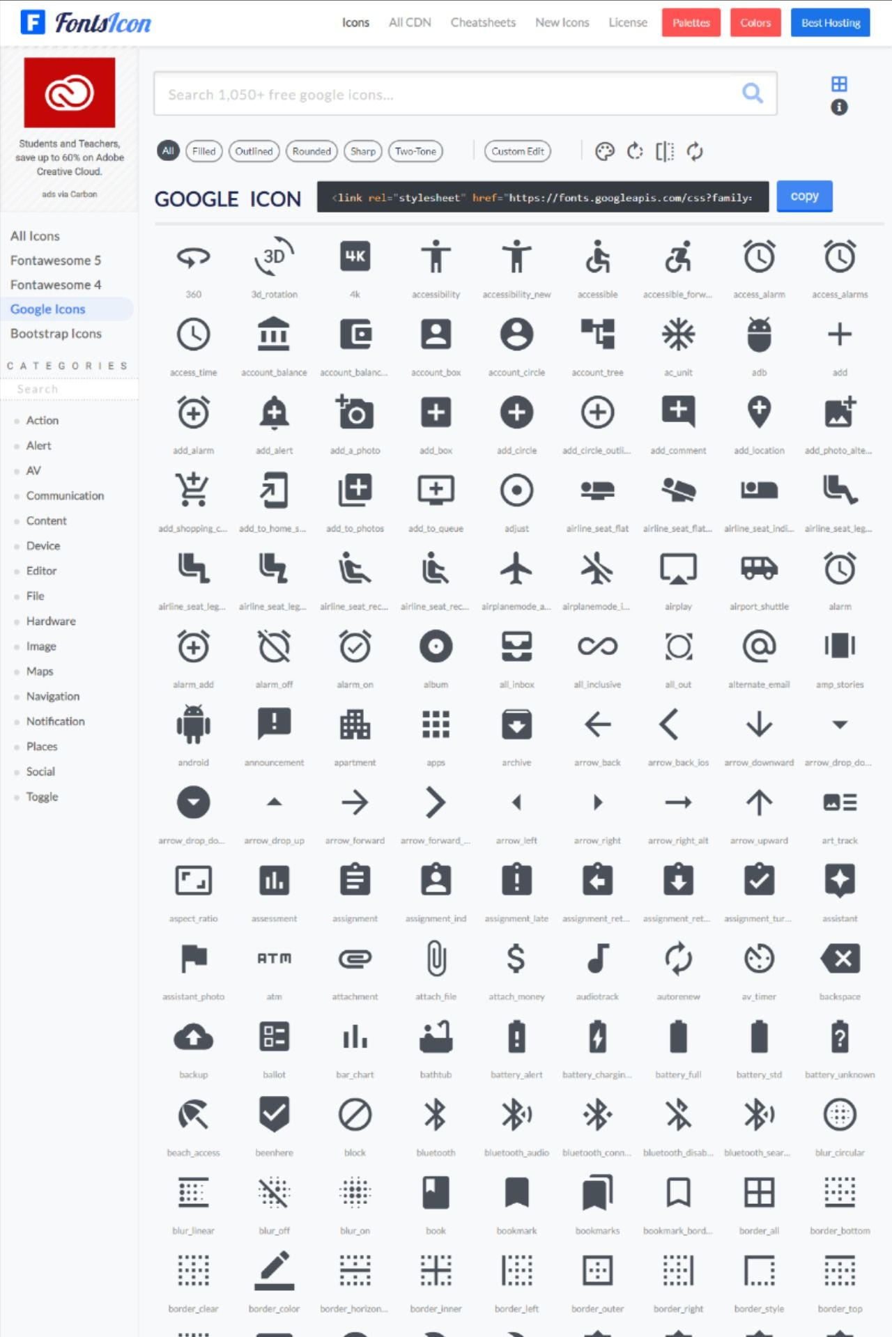 use material icons with different theme (filled, outlined