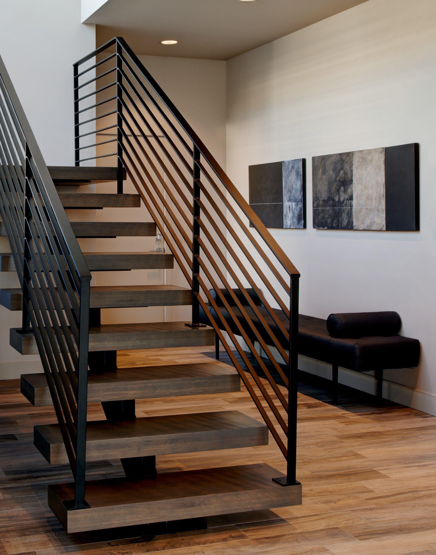 Beautiful modern floating stairs with sleek handrail ...