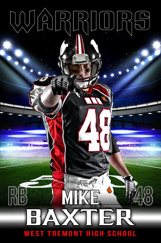player banner photo template stadium lights football player