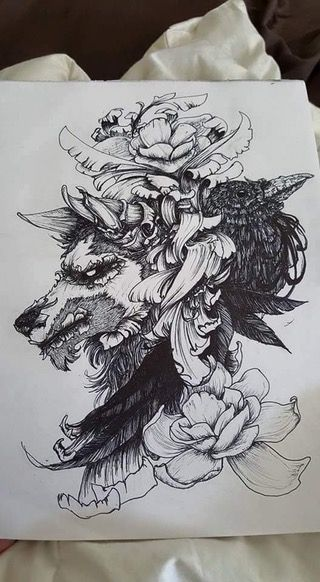 """""""The Wolf King and the Raven Queen"""" -- ink : Art"""