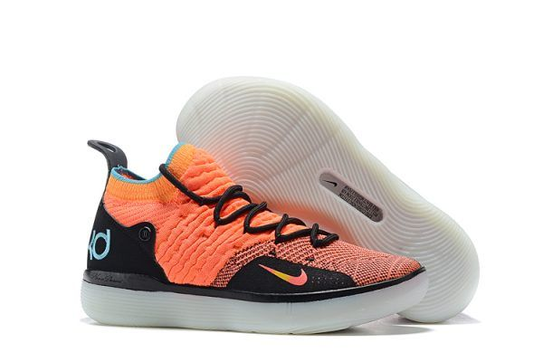 new concept 03e90 9635d Nike KD 11 The Academy Orange Black Teal Basketball Shoes On Sale