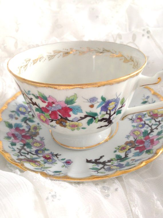 Vintage Unmarked Bone China Teacup and Saucer by MariasFarmhouse
