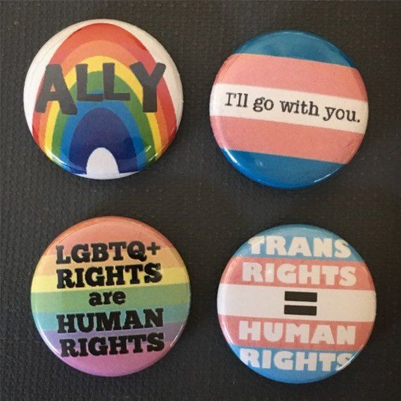 LGBT Gay Pride button badges Set of six 32mm. Rainbow