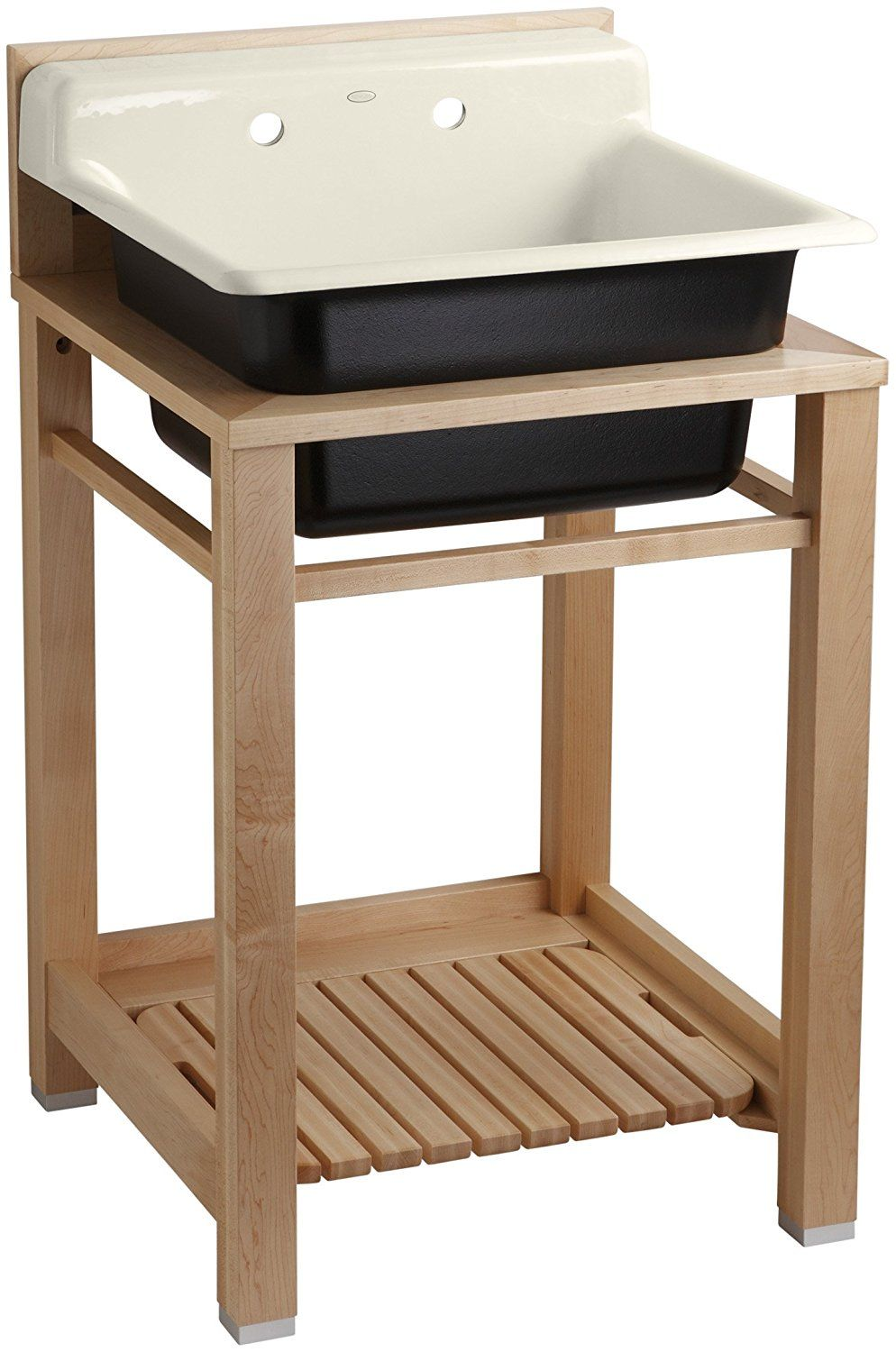 Free Room Design Tool: Kohler K-6608-2P-47 Bayview Wood Stand Utility Sink With
