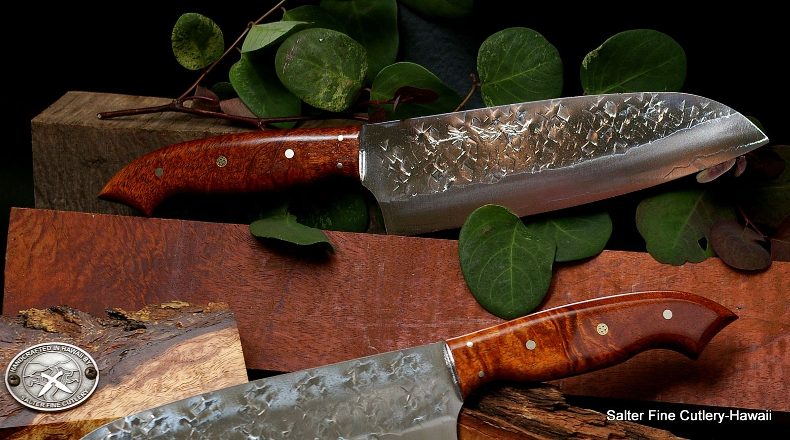 Specialty knives made to order  Pair of santokus with curly