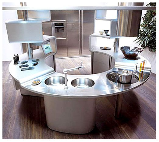 Gentil Unique And Simple Kitchen Island Design:circular Kitchen Design With  Stainless Surface