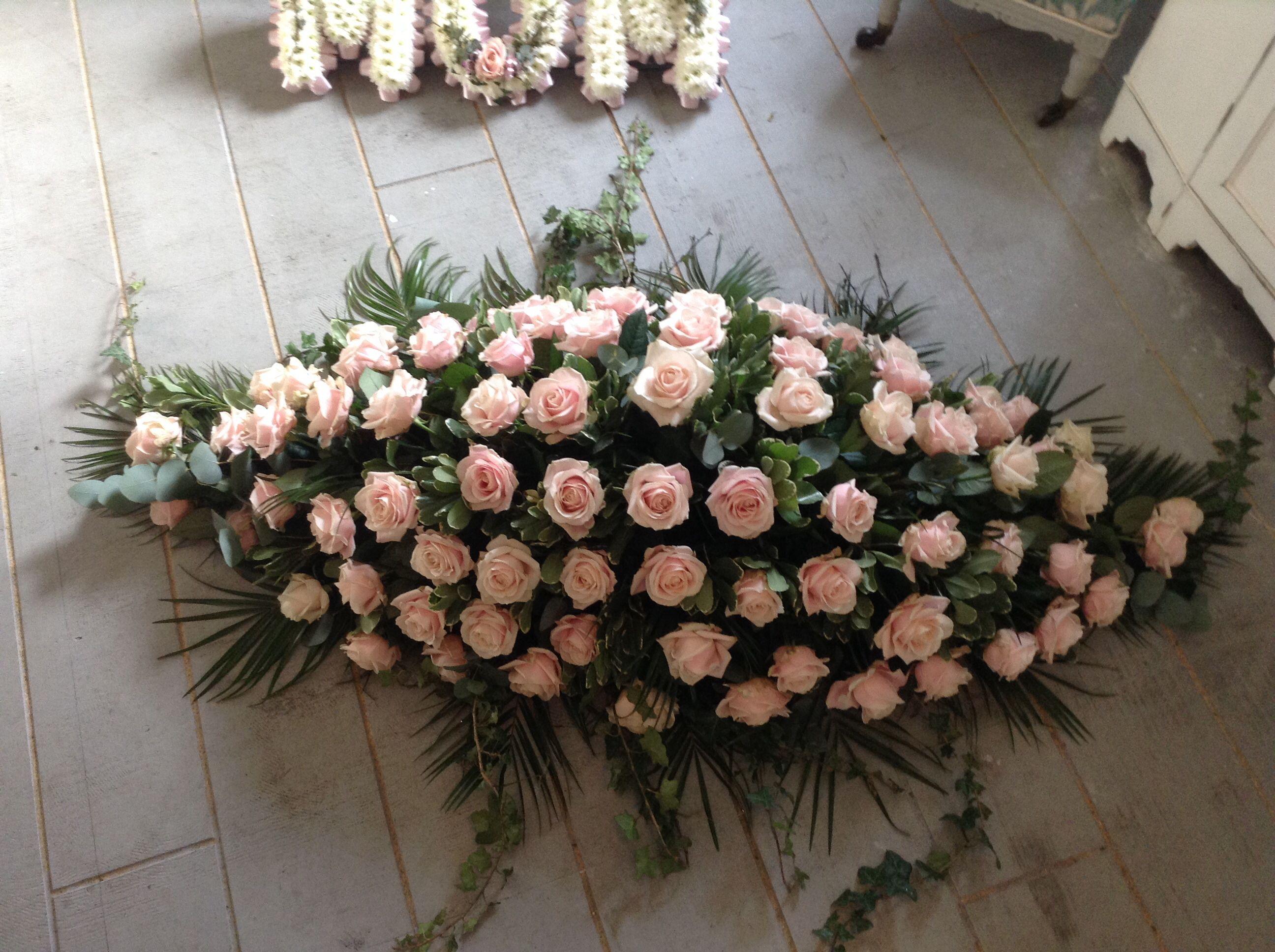 Pink Funeral Flowers Vintage Pink Roses Funeral Spray Casket