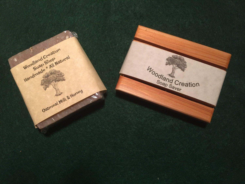 Oatmeal milk and honey soap bar plus cedar soap saver with gift bag