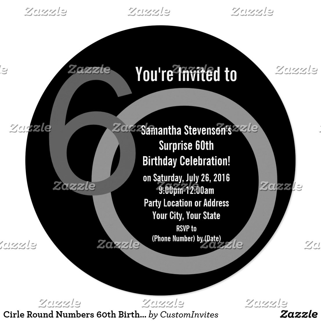 Cirle round numbers 60th birthday party invitation 60th birthday cirle round numbers 60th birthday party invitation round shape really sets this contemporary style apart cool modern black and gray 60th birthday stopboris Image collections