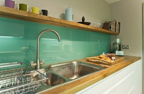 Schöne Küchenrückwand glas fliesen glatt | Einrichten und Wohnen ...