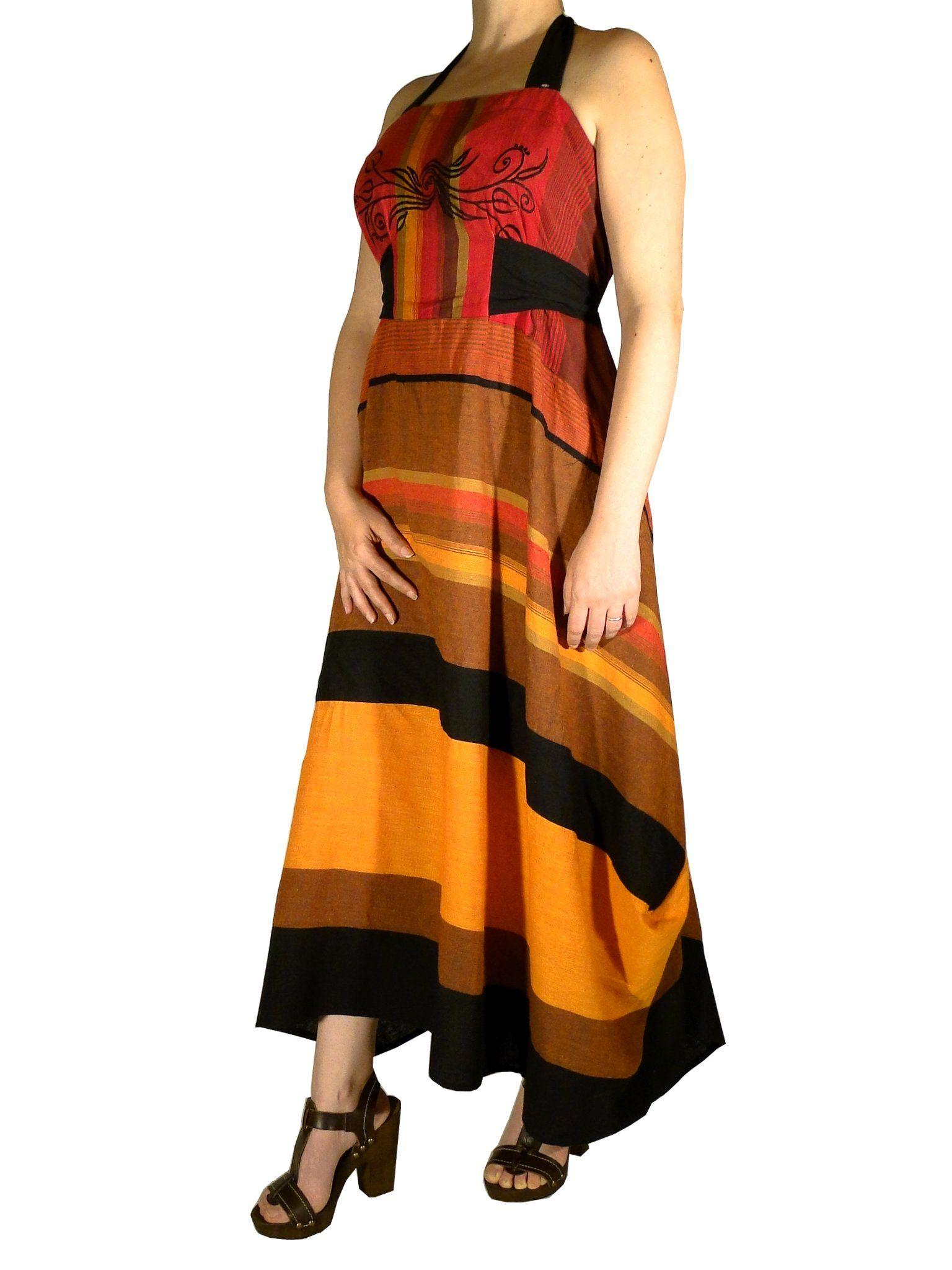 Vêtements ethniques: robe longue d'été Samba orange