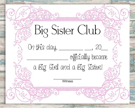Big Brother Certificate Personalised Gift For Older Sibling Boy Or Girl Baby Ebay Big Brother Gift Big Brother Gifts Big Brother