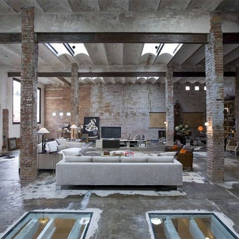 Industrial style loft in Barcelona, converted from an old printing - industrial vintage wohnhaus loft stil
