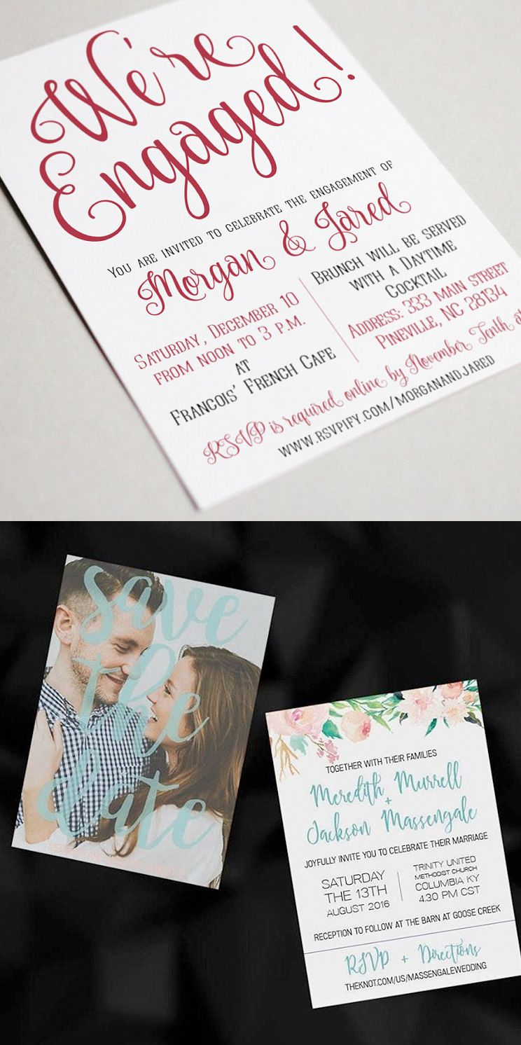 Floral Save the Date Cards and Pretty Script Engagement Announcement ...