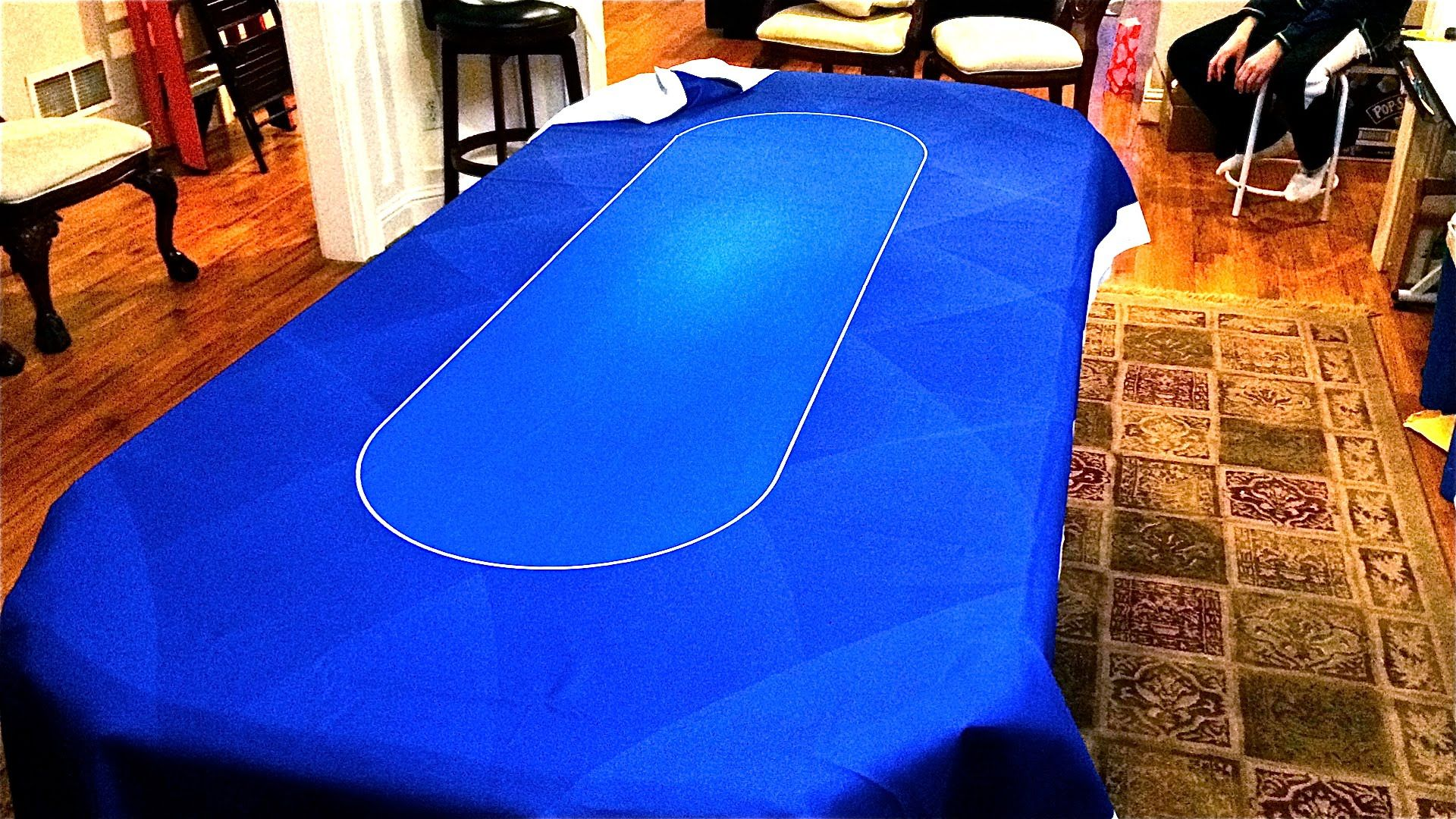 Making A Convertible Poker / Dinner Table With A Blue Dye Sublimation Poker  Table Cloth