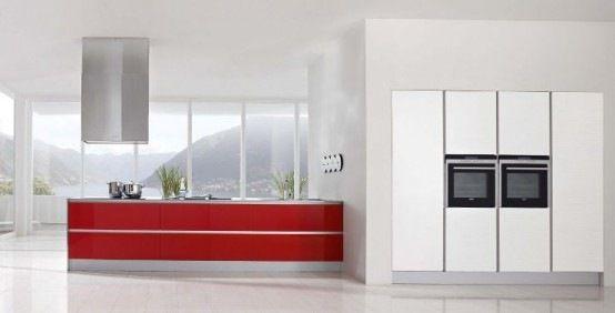 Cocinamoderna01 dise o de cocinas modernas combinando - Cocinas color rojo ...