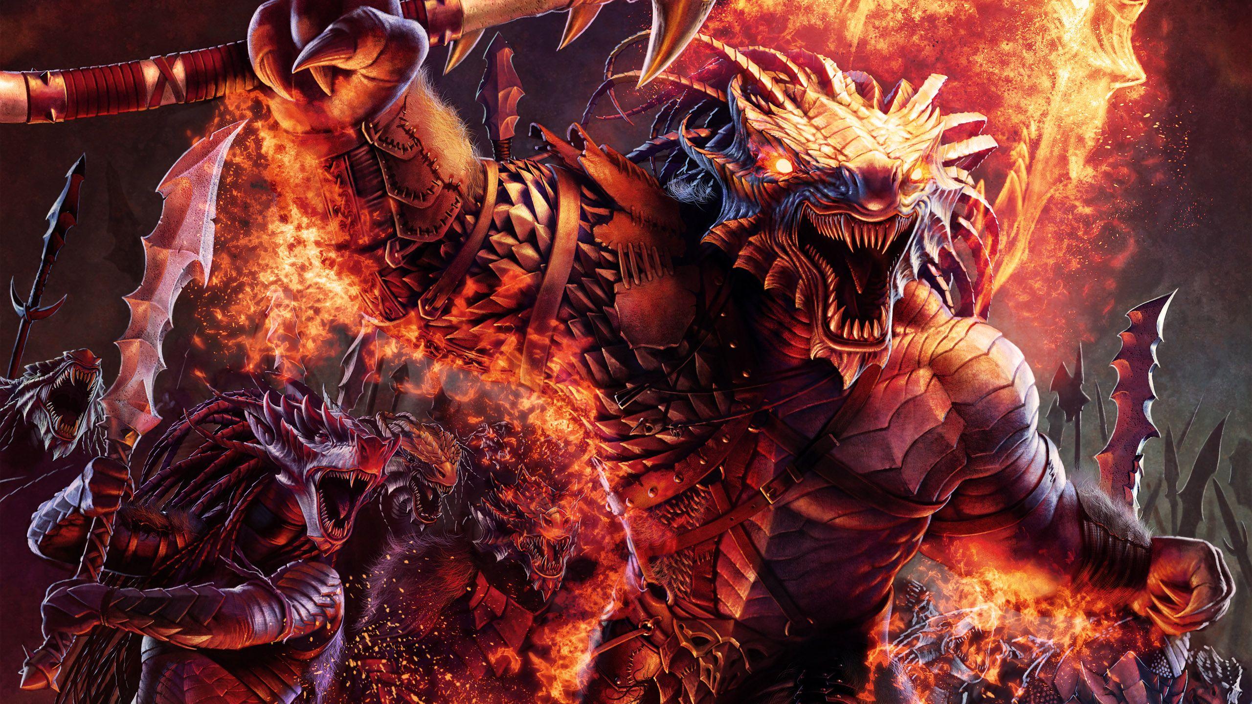 Concept Art Warriors Dragonborn Barbarians Wallpaper 2560x1440