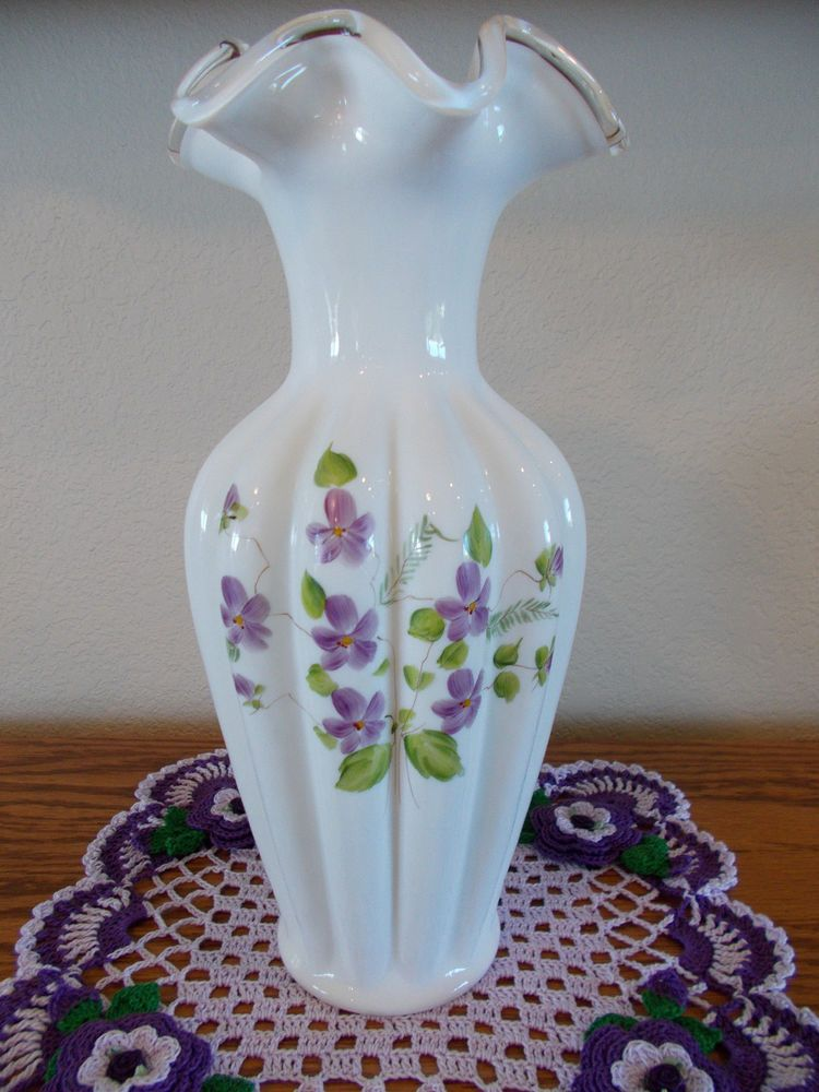 Vintage Fenton Fenton Vase With Hand Painted Violets