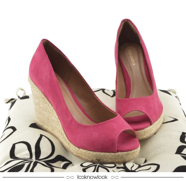 4d4a8f0898 Sandália Peep Toe Anabela Pink  sandália  corda  peeptoe  salto  espadrille   calçados  looknowlook