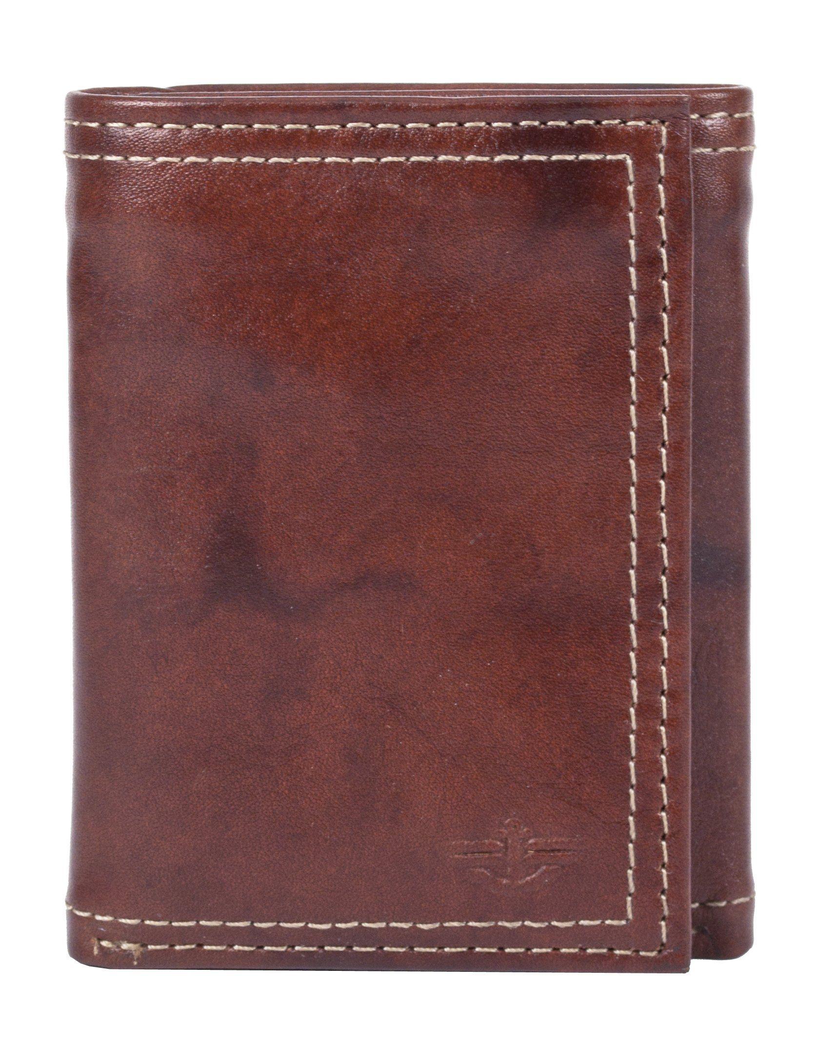 Dockers Men's Leather Interior Zipper Trifold Wallet